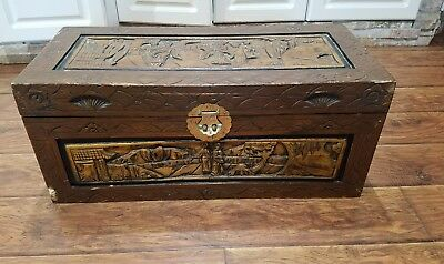 Antique Chinese Camphor Wood Hand Carved Chest Box
