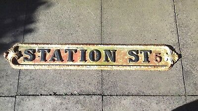 """CLASSIC BIRMINGHAM STREET SIGN """"STATION ST. 5"""" with CAST IRON STAND."""