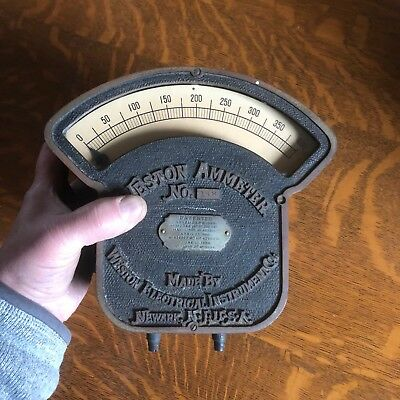 antique Weston Electrical Instrument Co  Ammeter  vtg Steampunk Industrial guage
