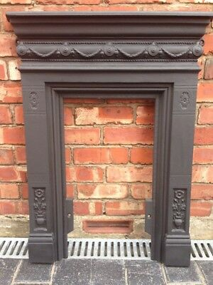 Period Cast Iron Fire Surround / Fireplace Matt Black