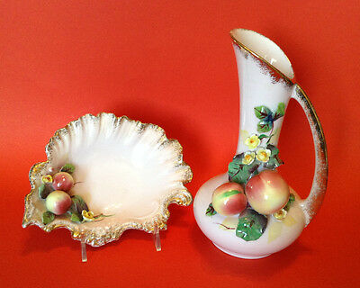 Gilded Pink Pitcher And Bowl Set - 1956 Geo Z Lefton - Figural Fruit And Flowers