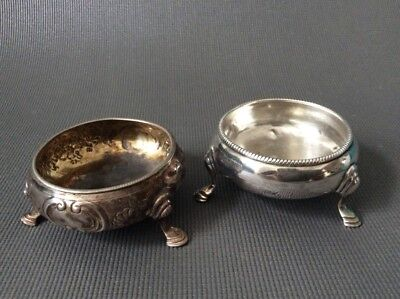 2 Antique Georgian Sterling Silver Salt Cellars / 69g