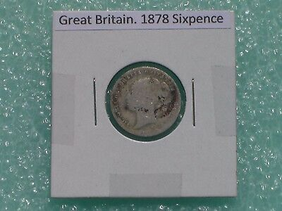 Great Britain - 1878 Six Pence - Predecimal Coin.