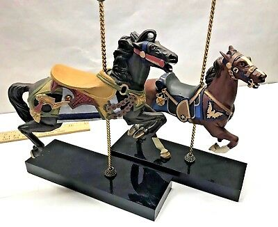 LOT of 2 CAROUSEL HORSE 7th STEED 8th CHARGER Figurines Hamilton Collection 1984