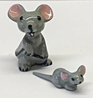 Vintage LOT Miniature Mouse Mice HAGEN RENAKER Animal Figurine Ceramic Mama Baby