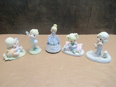 Lot Of (5) Precious Moments Porcelain Figurines Pre-Owned Free Shipping