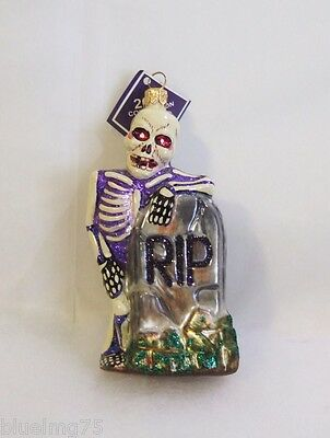 Slavic Treasures Glass Ornament No Rest For The Wicked Purple & Blue Skeleton S3