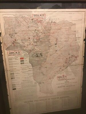 1902 Framed General Oil Co. -  Oiil & Gas Map of Texas