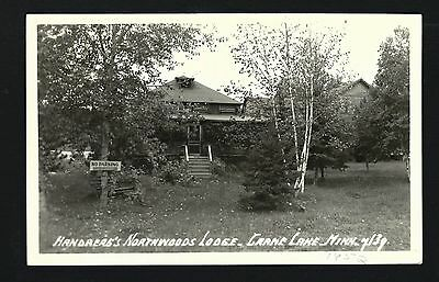 Crane Lake Minnesota MN 1952 RPPC Handberg's Northwoods Lodge Log Cabins, Office