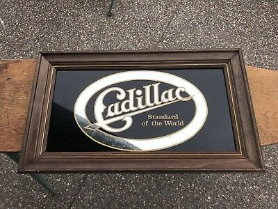 Vintage Cadillac Standard of the World Glass Framed Sign Old Cadillac Mirror
