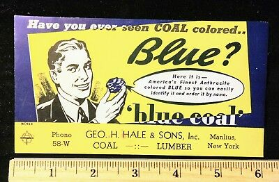 Vintage Manlius New York Blue Coal Anthracite Coal Ink Blotter