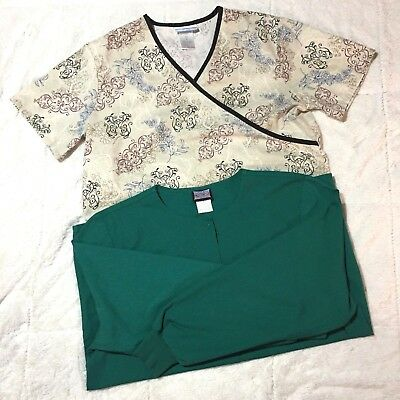 Lot of 2 Medical Nursing Dental Scrubs Womens Small Tops Cherokee SB Scrubs 107