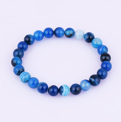 8mm Sapphire blue Agate Stripe Round Beaded Stretch Bracelet