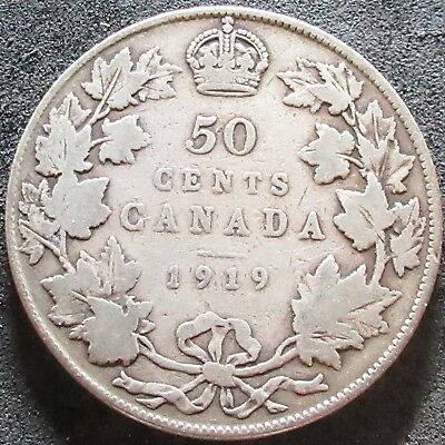 1919 Canada Silver Fifty Cent Coin