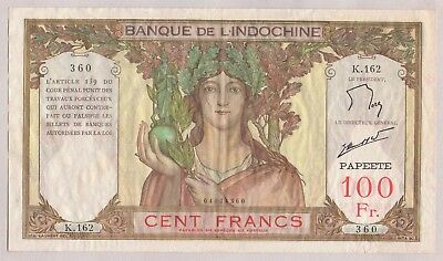 Tahiti Banque De L'indochine 100 Francs Banknote Circulated ~ Wrinkles