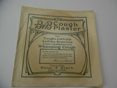 c.1910s B&B WHOOPING COUGH PLASTER Medical Quack Antique Bauer & Black Chicago