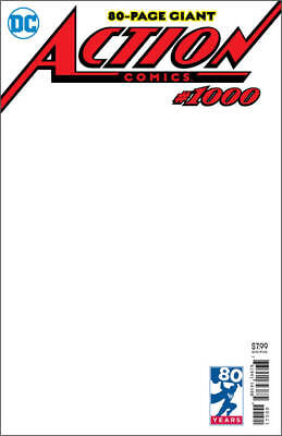 Superman Dc Action Comics #1000 June 2018 Blank  Variant Cover Free Shipping Usa