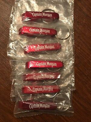 CAPTAIN MORGAN 'RED' KEYCHAINS--LOT of SEVEN--NEW in PLASTIC