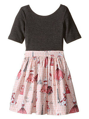 aa44d8b859741 Fiveloaves Twofish Vogue Paris Abbie Girls Dress Gray Jersey and Pink  Cotton NWT