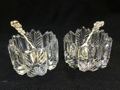 2 Antique Cut Crystal Open Cellar Pepper Salt Sterling Silver Spoon Pair Floral