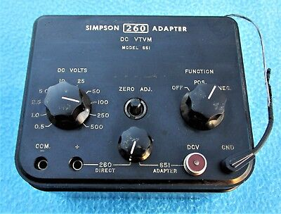 Simpson 260 Adapter-DC VTVM-MODEL 651-Vacuum Tube Volt Meter-Simpson 651-L@@K!