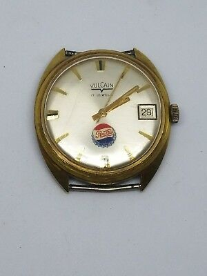 Pepsi Cola Vulcain 17 Jewels Watch With No Band Vintage