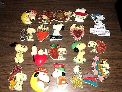 Vintage Lot Of 19 Fridge Snoopy / Peanuts Refrigerator Magnets Schulz