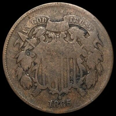 1865 Two Cent Piece 2c Bronze Copper Coin (A233)