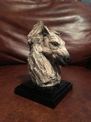 "Beautiful Hand Painted 7"" Tall Horse Head Statue with Wood Base"