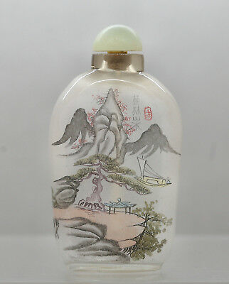 Exquisite Beautiful Inside Painted Antique Chinese Snuff Bottle Jade Stopper