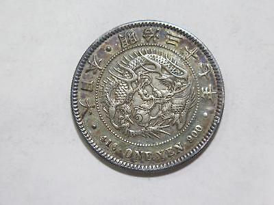 Japan Meiji 37 1904 1 Yen Silver Dragon Type Toned Old World Coin Collection Lot
