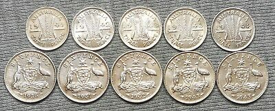 Lot Of 10 Australia Silver Coins - (5) 3 Pence & (5) 6 Pence