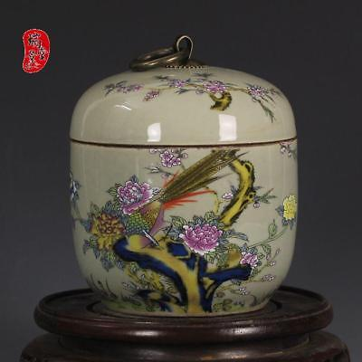 China Old QING YONGZHEN Riches & Honour Caragana Porcelain Tea Caddies