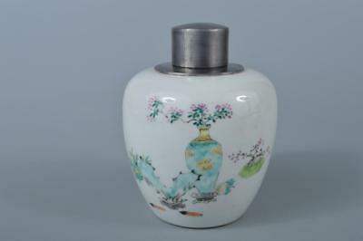 W19: XF Chinese Colored porcelain Vase Flower Poetry pattern TEA CADDY Container