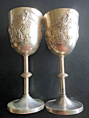 1900s CHINA CHINESE HIGH RELIEF DRAGON SOLID SILVER GOBLETS WITH HALLMARK 纯银
