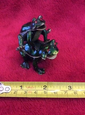 Leap Frogging Frogs Enameled Magnetic Double Hinged Trinket Jewelry Box