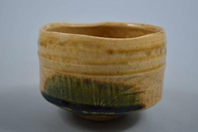 K8282:Japanese Old Oribe-ware Green glaze TEA BOWL Green tea tool,Tea Ceremony