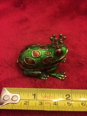 Frog Prince Enameled Magnetic Hinged Trinket Jewelry Box