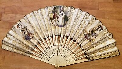 beautiful antique french carved hand painted fan bone