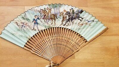 Antique French  Hand Painted Hunting Scene Fan