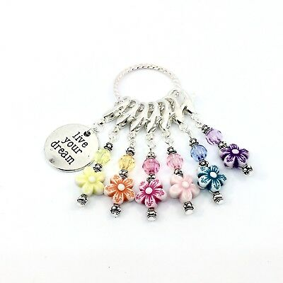 STITCH MARKERS CROCHET KNITTING Handmade Set of 6 Flower Beads Multi Colour Gift
