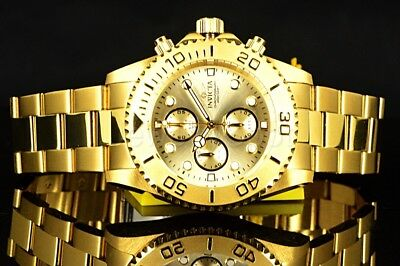 1774 Invicta Pro Diver 18k GOLD Plated SS Chronograph Champagne Dial $695 Watch
