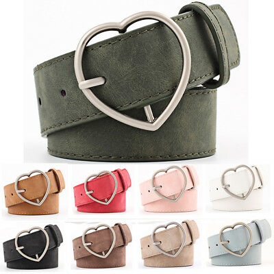 Stylish Ladies Women Heart Buckle Belt Dress Jeans Faux Leather Waistband NEW