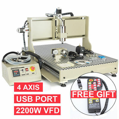 USB 4Axis 2.2KW CNC 6090 Router Engraver Engraving Milling Drilling Machine +RC