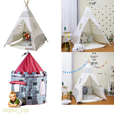 Childrens Wigwam Indoor Outdoor Play House Large Cotton Canvas Kids Teepee Tent