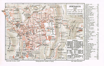 Jerusalem Stadtplan 1897 - Tempelberg - Haram esch-Sharif - Jerusalem city map