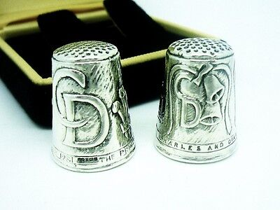 Pair Silver Thimbles, Commemorative, Sterling, Royalty, Charles & Diana 1981