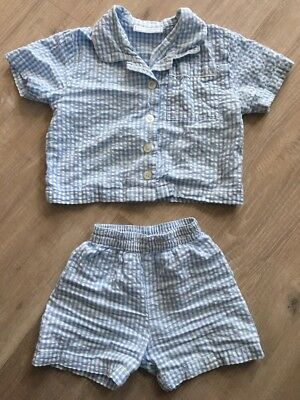 the little white company baby Boy Summer Check Pyjamas 12-18 Months