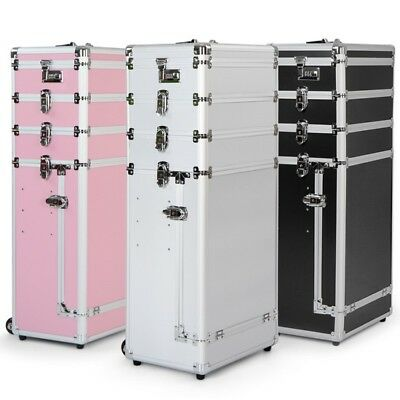 Professional Makeup Rolling Trolley 4in1 Wheeled Aluminum Beauty Cosmetic Case