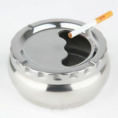 Round Stainless Steel Cigarette Lidded Ashtray Silver Portable Windproof Ashtray